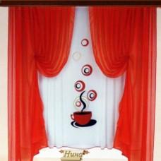 """Комплект готовых укороченных штор из вуали  """"Кофе"""" от Берови"""