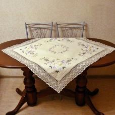 Столешница льняная 2782 квадрат 85* 85 см. с вышивкой