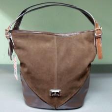 Комбинированная сумка из эко кожи замши и лаковой кожи Ronaerdo G54-9 цвет хаки