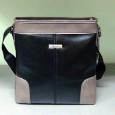 Комбинированная сумка для мужчины из эко кожи Borgo Antico 1031 цвет чёрный